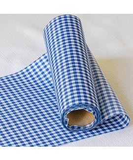 ראנר בד משבצות כחול לבן