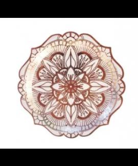 צלחות נייר מנדלה רוז גולד- גדולות