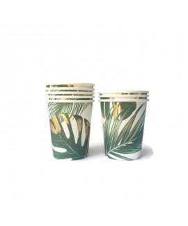 כוסות נייר עלים טרופיים