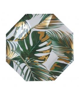 צלחות נייר עלים טרופיים