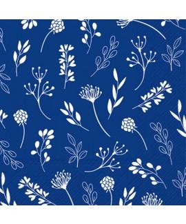 מפיות נייר כחולות בעיטור פרחים עדינים