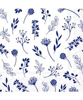 מפיות נייר פרחים עדינים כחול לבן