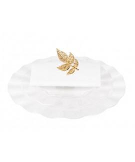 חבק למפית קליפס עלים- זהב