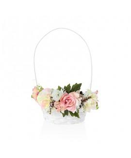 סלסלה לשבועות מעוטרת פרחים- ורוד