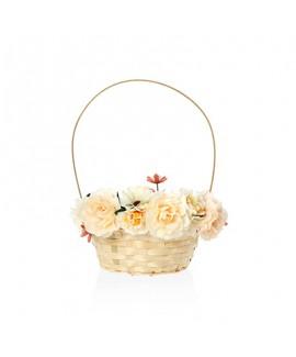 סלסלה לשבועות מעוטרת פרחים- קרם