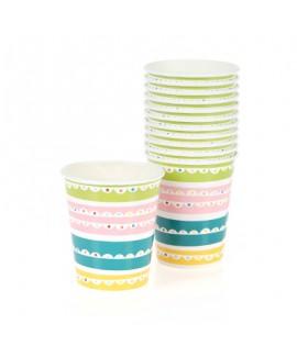 כוסות נייר פסים צבעוניים- meri meri