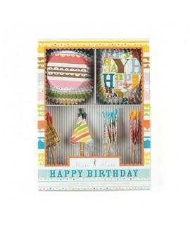 סט 24 מנג'טים + 24 קיסמי כובעי יום הולדת צבעוניים לקישוט - Meri Meri
