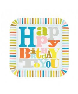 צלחות נייר גדולות happy birthday - meri meri