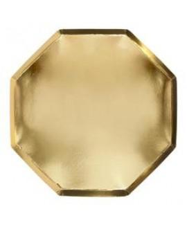 צלחות זהב מתומנות גדולות - Meri Meri