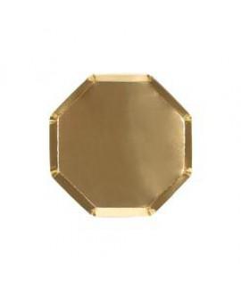 צלחות זהב מתומנות בינוניות - Meri Meri