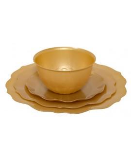 צלחות וינטג' פרימיום זהב גדולות