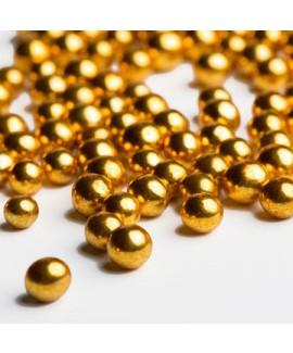 """סוכריות פנינים זהב מטאלי 10 מ""""מ לעוגה"""