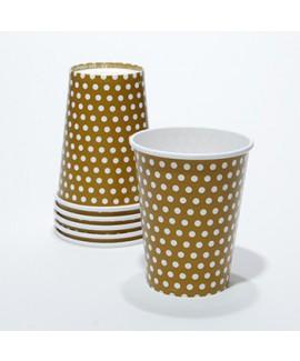 כוסות קרטון בצבע זהב עם נקודות