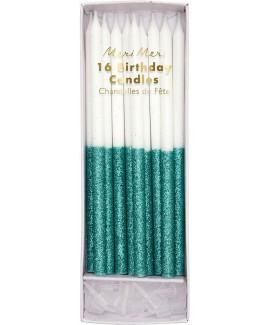 נרות לבנים בעיטור ירוק מנצנץ - Meri Meri