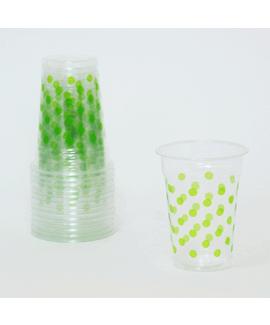 כוסות שקופות עם נקודות ירוקות