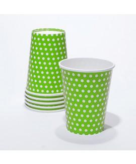 כוסות קרטון ירוקות עם נקודות
