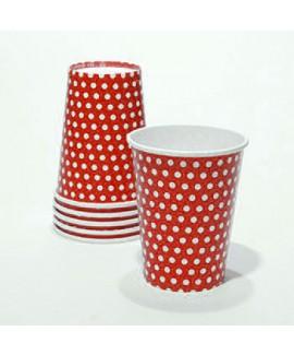 כוסות קרטון אדומות עם נקודות
