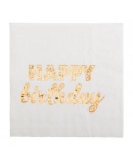 מפיות קוקטייל לבנות Happy Birthday