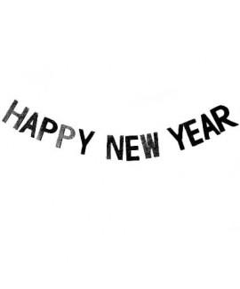 שרשרת אותיות שחורות בכיתוב Happy New Year.