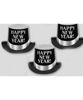מגבעת קרטון שחורה בעיטור כסף Happy New Year