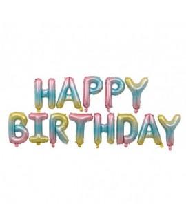 בלוני בצבעי פסטל מטאליים Happy Birthday
