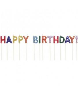נרות בכיתוב Happy Birthday צבעוני