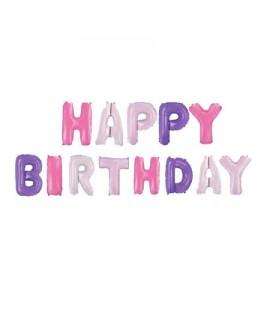 בלוני בצבעי ורוד וסגול Happy Birthday