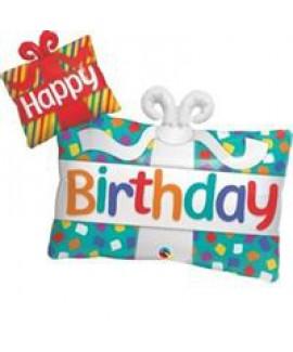 בלון אלומיניום קופסת מתנה עם סרט Happy Birthday