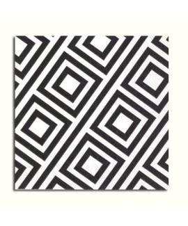 מפיות קוקטייל ריבועים שחור לבן