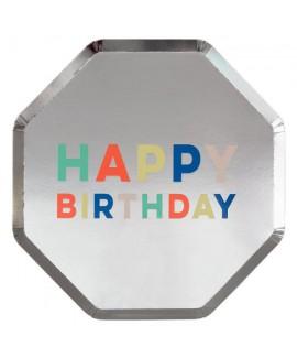 צלחות נייר כסופות עם כיתוב happy birthday - Meri Meri