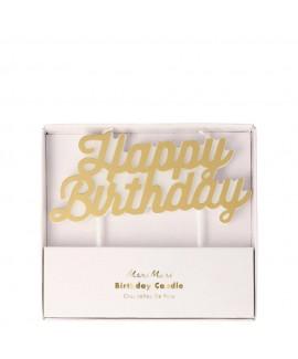 נר Happy Birthday בצבע זהב - Meri Meri