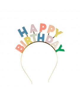 קשת ראש happy birthday צבעונית ממתכת  - meri meri