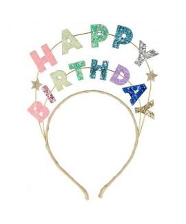 קשת happy birthday נוצצת לראש ממתכת - Meri Meri