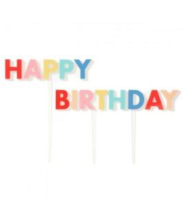 קייק טופר happy birthday צבעוני- meri meri