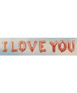אותיות בלונים I LOVE YOU רוז גולד