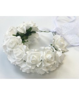 זר פרחים כפול לראש- לבן