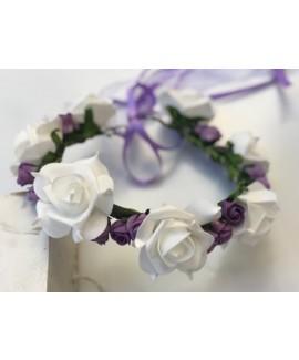זר פרחים לראש- לבן וסגול