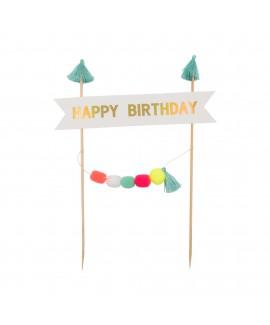 קייק טופר happy birthday פונפונים- צבעוני
