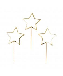 קיסמי נייר כוכב לבן עם פס זהב