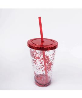 כוס נצנצים אדומה