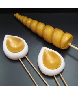 ערכת בצק סוכר להכנת עוגת חד קרן - זהב