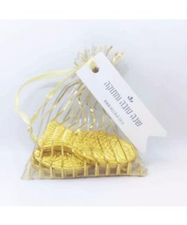 שקית אורגנזה עם דגי שוקולד- מתנה לאורחים