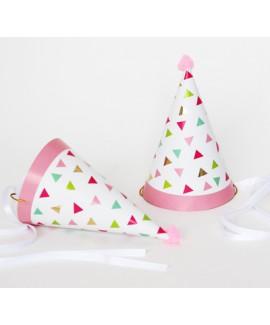 כובע מסיבה משולשים צבעוני עם סרט סאטן לבן