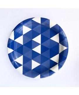 צלחות גדולות כחול לבן