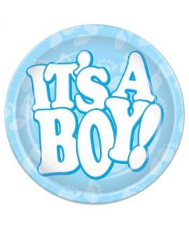 צלחת נייר קטנות להולדת בן - It's a boy !