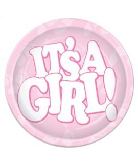 צלחות נייר קטנות להולדת בת - It's a girl!