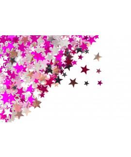 קונפטי כוכבים כסף, ורוד ופוקסיה