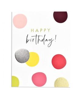 כרטיס ברכה יום הולדת - נקודות צבעוניות