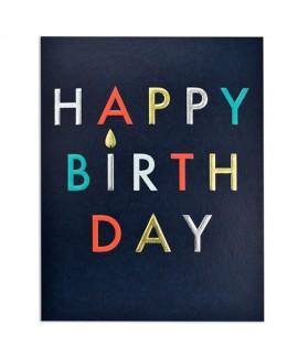 כרטיס ברכה יום הולדת - אותיות צבעוניות