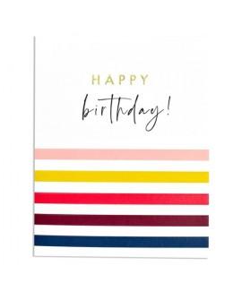 כרטיס ברכה יום הולדת - פסים צבעוניים